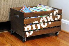 Porta-livros de caixote de feira com rodinhas