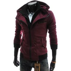 Wine colour Slim Fit Double Zipper Hood Cotton Jacket check it out www.theleesshop.com/shop/step1.php?number=17548
