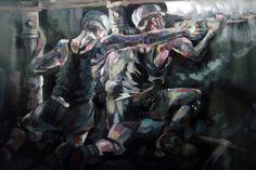 One of Harry Malkin's atmospheric paintings depicting the coal industry as it…