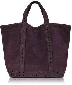 Vanessa Bruno Large Suede Tote Bag in Aubergine. Love the gunmetal grommet detailing!