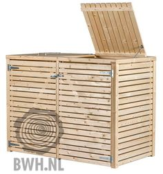 Houten Containerberging Dubbel 115 x 155 x 83 cm luxe ombouw Bin Shed, Pallet Wine, Outdoor Furniture, Outdoor Decor, Decoration, Tiny House, Woodworking, Storage, Wine Rack