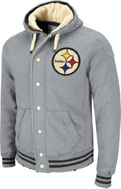Pittsburgh Steelers Mitchell & Ness Vintage Off Tackle Button Zip Hooded Heavyweight Sweatshirt