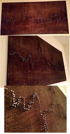 DIY Nail Art- New York City Skyline made from stained board and nails - Skyline . - DIY Nail Art- New York City Skyline made from stained board and nails – Skyline gtr - Nail Art Diy, Diy Nails, Nail Nail, New York City Skyline, Chicago Skyline, City Skyline Art, Toronto Skyline, Diy And Crafts, Arts And Crafts