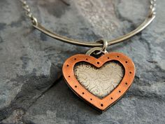 Heart Necklace Etched Sterling Silver with Copper