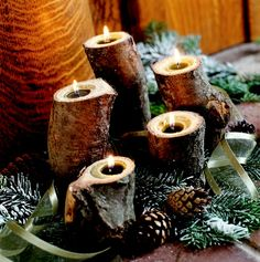 yule log candles - Decoration for House Yule Crafts, Holiday Crafts, Holiday Fun, Festive, Noel Christmas, Country Christmas, Winter Christmas, Natural Christmas, Christmas Candles