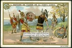Roman Legionnaire And Gual Warrior Duel c1898 Card