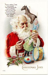 Victorian Christmas postcard, vintage Santa illustration, Santa painting doll face, Santa making toys image, old fashioned holiday card, St Nicholas workshop