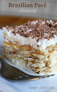 This Brazilian Pave dessert is one of my favorite dishes I tried in Brazil..try it now @ sugar-n-spicegals...