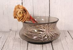 Vintage candy dish Small bowl potassium glass with abstract flower Glass serving dish Light brown glass Frosted bowl glass Ikebana bowl