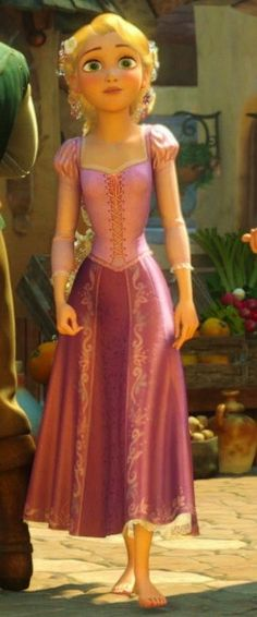 Full body screenshot of rapunzel from tangled for dress reference
