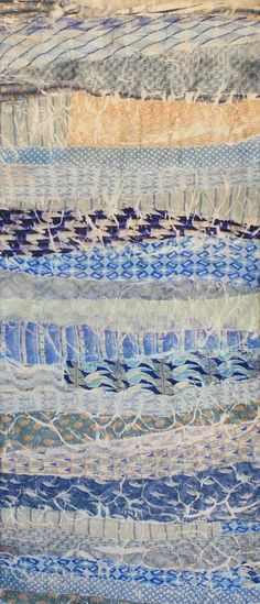 "Migration, 42 x 19"", by Loris Bogue. 2011. Dupioni silk with neckties.  Fiber art."
