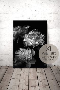 Peony Art, Black and White Photography, Peony Print, Floral Print, Peony Bouquet, Flower Printable, Black and White Poster, Large Wall Art  ❤ Enjoy 30% saving when you purchase 3 or more prints, enter code SAVE30 at checkout.  IF YOU NEED A SPECIFIC SIZE, please request a custom order and I will gladly do it for you :) There is no extra cost!  ++++++++++++++++++ YOU WILL RECEIVE: 4 JPG high quality digital files (RGB) ready for printing {Resolution: 300 dpi} and 1 Instruction sheet. ► 2:3…