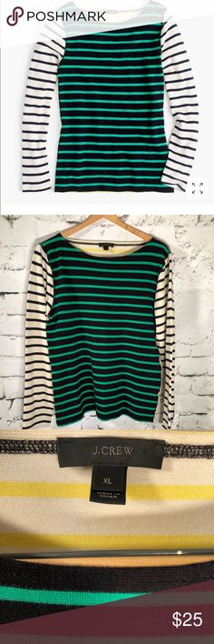 "J. Crew Waffle T-Shirt Stripe Combo LS Sz XL J. Crew  Long sleeve Stripe. Green, Navy, Ivory, Yellow 99% Cotton 1% Elastane Machine wash  Size XL Measurements are approximate: Armpit to armpit 19""  Length 25.5""  Sleeve from shoulder 24"" This would go great with almost anything. A lined pant, jean short, chino short, skirt..endless possibilities.  Thanks for stopping by Please check out my other items Questions welcomed J. Crew Tops"