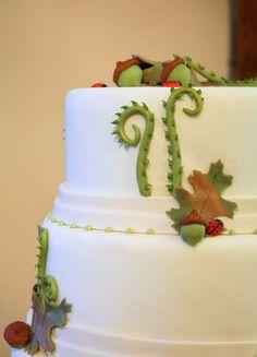 Nature themed wedding cake