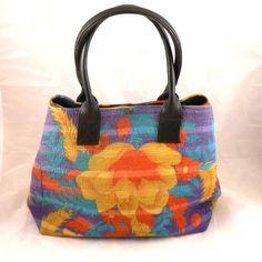 Kantha Vintage Indian Cotton Large Handbag Leather Handles Blue Orange Yellow