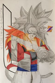 SSJ4 Super Saiyan 4 Gogeta from Dragon Ball GT by ZorArt