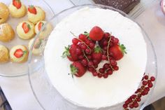 Strawberry and whipped cream cake.