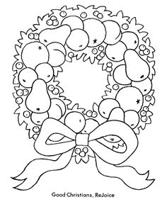 Bible Printables: Christmas Kids Coloring Pages - Christmas wreath