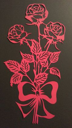 Valentine& Day Paper Cut Papercut Modern by WattwurmAllerlei - Blumen - Kirigami, Diy Paper, Paper Crafts, Rose Stencil, Scroll Saw Patterns Free, Paper Cut Design, How To Make Stencils, Paper Artwork, Stencil Patterns