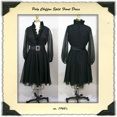 1960's Chiffon Dress with Split Front S by NobleSavageVintage, $75.00