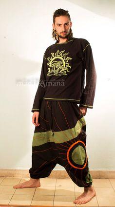 Harem Pants with Sun - Aladdin Trousers - Afghani Pants - Alibaba Pants - Men - Women - Cotton - S / XS - M - L