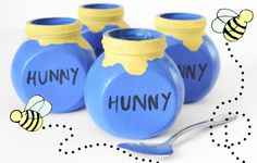 Winnie the Pooh Hunny Pots Tutorial with Honey Vanilla Pudding Recipe #kidparty #birthday