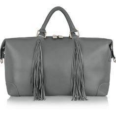 Eddie Harrop The Voyager fringed textured-leather weekend bag ($1,235) ❤ liked on Polyvore featuring bags, grey, weekend bag, overnight bag, fringe bag, weekender bag and cell phone bag