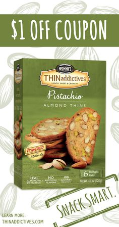 Snack smart, shop smarter. Don't forget to print your $1 off THINaddictives coupon before your next trip to the store! On The Go Snacks, Roasted Almonds, 100 Calories, Pistachio, Raisin, Coupons, Lunch Box, Dishes, Coupon