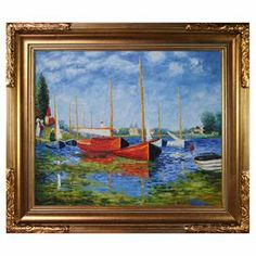 """Add museum-worthy appeal to your living room or study with this eye-catching framed canvas print of Claude Monet's Red Boats at Argenteuil.   Product: Framed canvas printConstruction Material: Canvas and woodColor: Gold frameFeatures:  Handmade oil painting reproductionReady to hangDesigned by Claude Monet Dimensions: 27"""" H x 31"""" WCleaning and Care: Wipe clean with a damp cloth"""