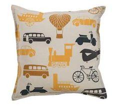 Cream and yellow transportation pillow - DEQOR.com