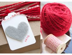 heart tags and gift wrap...