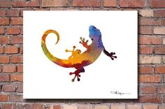 Gecko Art Print  Abstract Watercolor Painting  by 1GalleryAbove
