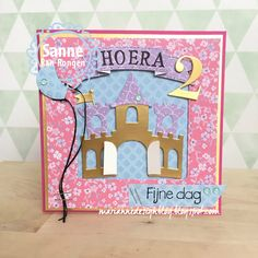 Handmade card by DT member Sanne with Collectables Eline's Banners XL (COL1398), Castle (COL1404) & Elegant Numbers (COL1418) from Marianne Design