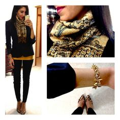 love that it's fitted, classy, i don't wear navy, but i like the mustard and scarf with the mix of leopard.  I really like her style