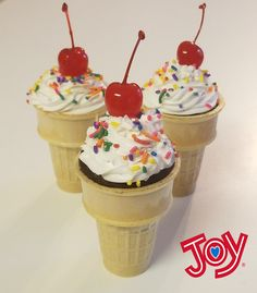 Joy Ice Cream Cupcake Cones These cupcake cones are a great way to switch it up from the traditional ice cream cone.  Ingredients: Joy Cake Cups 1 box cake mix Vanilla frosting Sprinkles Maraschino cherries  Make cake mix based on instructions on box.  Add into cake cups, about 3/4 full.  Bake until toothpick comes out clean.  Top with vanilla frosting, sprinkles, and cherries.   #BringJoyHome