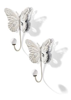 "Wandhaken ""Schmetterling"", 2er-Set, bpc living, weiss"