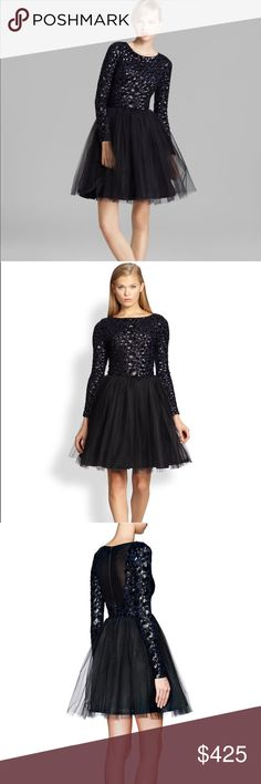 NWT Alice + Olivia Tulle Sequined Bergen Dress Brand new with tags. No flaws. Stunning dress. Sold out everywhere. Smoke free pet friendly home. Actual photos coming soon. Deep navy and black. Mesh back panel. Zip up back. Reasonable offers considered Alice + Olivia Dresses Long Sleeve