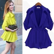 $16.49 Casual Single-breasted Turndown Collar Half Sleeves Blue Long Trench