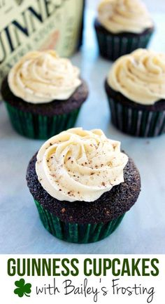Guinness Cupcakes with Bailey's Frosting Recipe - Awesome idea for St. Patrick's Day!
