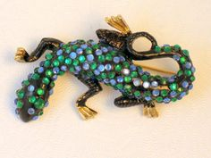 Rare Signed HAR Enamel and Rhinestone Lizard Brooch