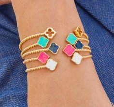 You won't be doing any digging with this adorable gold plated signature enamel spade bracelet. Wear them stacked or alone.