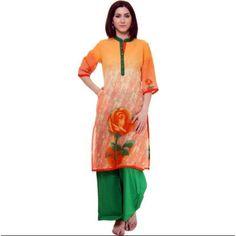 Buy shree Casual Self Design Women's Kurti  (Orange) by undefined, on Paytm, Price: Rs.519?utm_medium=pintrest