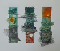 Three little 'Totem' Blocks inked up and presented together. Sold on Etsy rossthompsonprints Collagraph Printmaking, Contemporary Printmaking, A Level Art, Sketchbook Inspiration, Extinct, Contours, Art Techniques, Textile Art, Collagen