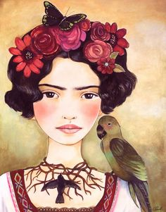 Frida joven arte grabado                                                                                                                                                      Más