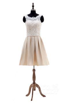 Stylish+A-Line+Illusion+Natural+Knee+Length+Satin+Ivory/Champagne+Sleeveless+Open+Back+Wedding+Dress+LD4028
