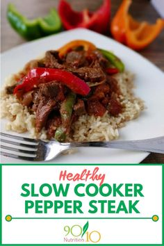 This one is also in our Healthy Freezer Meals eBook (linked at the bottom of the recipe) Clean Eating Slow Cooker Recipe, Healthy Slow Cooker, Slow Cooker Recipes, Crockpot Recipes, Clean Dinners, Clean Eating Recipes For Dinner, Healthy Pepper Steak Recipe, Healthy Freezer Meals, Freezer Cooking