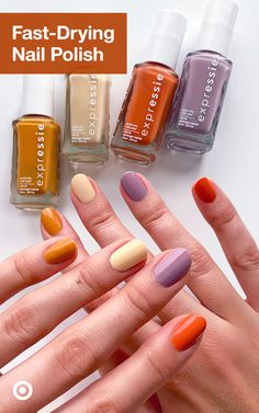 Give your nails a quick makeover with nail ideas, art & Essie Expressie, the new fast-drying nail polish. Bright Summer Acrylic Nails, Best Acrylic Nails, Acrylic Nail Designs, Nail Swag, Fast Drying Nail Polish, Gel Polish, Do It Yourself Nails, Essie, Aycrlic Nails