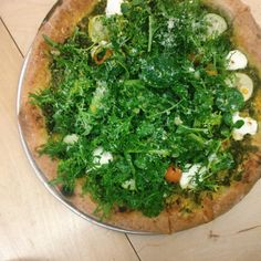 . The summer greens pizza from @brunopizzanyc with carrot-top pesto ...