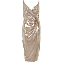 River Island Metallic nude wrap dress (£42) ❤ liked on Polyvore featuring dresses, brown dresses, jersey wrap dress, bodycon cocktail dress, plunge-neck dresses and ruched dress