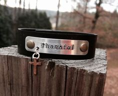 Thankful Leather Cuff with Hand-stamped by BlueWillowBracelets